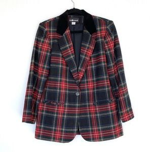 Sag Harbor Black Red Velvet Wool Plaid Blazer